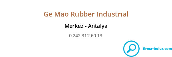 Ge Mao Rubber Industrıal